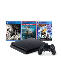 Sony PlayStation 4 Slim 1TB Console MEGAPACK Bundle 3 GAMES (Ghost of Tsushima, God of War 4, Ratchet and Clan)