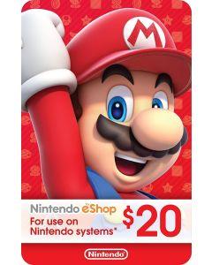 Nintendo Gift Card $20