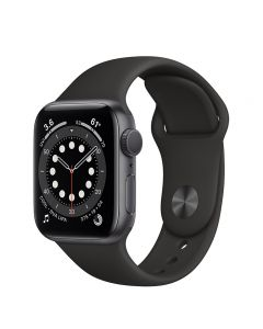 Apple Watch Series 6 GPS , 40mm Space Gray Aluminum Case with Black Sport Band