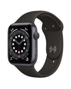 Apple Watch Series 6 GPS , 44mm Space Gray Aluminum Case with Black Sport Band