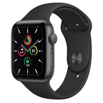 Apple Watch SE GPS, 44mm Space Gray  Aluminum Case with Black Sport Band
